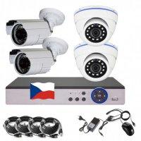 4CH 4MPx AHD kamerový set CCTV - DVR s LAN a 4x venkovních bullet/dome AHD IR kamer, 2688×1520px/CH, CZ menu,P2P, HDMI