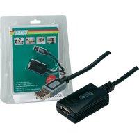 USB 2.0 kabel, USB 2.0 zástrčka A ⇔ USB 2.0 zásuvka A, černá, 5 m