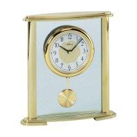 Stolní analogové hodiny, kov a sklo, zlatá barva