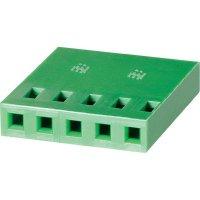 Pouzdro bez zámečku TE Connectivity 925366-6, zásuvka rovná, 2,54 mm, zelená
