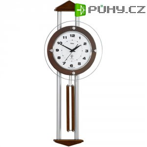 DCF kyvadlové hodiny - pendlovky, 24,5 x 60,5 cm, dřevo, vlašský ořech/stříbrná
