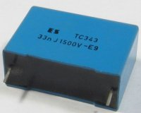 33n/1500V TC343, svitkový kondenzátor impulsní, RM=27mm