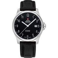 Ručičkové náramkové hodinky Swiss Military, 20076ST-9L, pánské, kožený pásek, černá/stříbrná