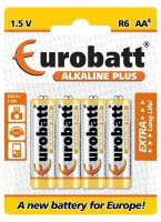 Baterie EUROBATT 1,5V AA (LR6) Alkaline Plus, blistr 4ks