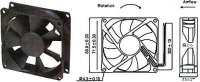 Ventilátor 80x80x25mm 12V/0,15A 2500 ot/min