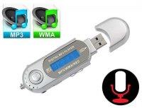 Diktafon, přehrávač MP3, rádio AK301 stříbrný