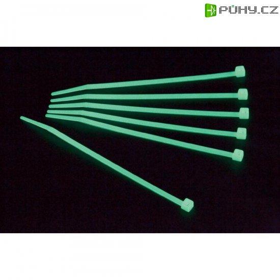 Stahovací fosforescenční pásek, 300 x 3,6 mm, 100ks, 50 ks, zelená - Kliknutím na obrázek zavřete