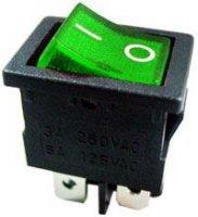 Vypínač kolébkový OFF-ON 2pol.250V/6A zelený s doutnavkou