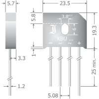 Křemíkový můstkový usměrňovač Diotec KBU8M, U(RRM) 1000 V, 8 A, SIL