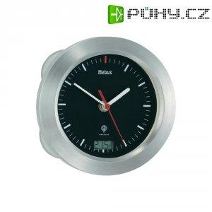 Analogové DCF nástěnné hodiny do koupelny, Ø 17 x 6 cm, hliník, černá