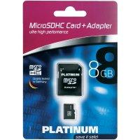 Pamětová karta microSDHC Platinum 8GB, Class 4, SD adaptér