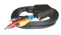 Kabel Scart - 3 x CINCH konektor + přepínatelný 1,5m
