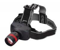 Svítilna čelovka LED 1W /3xAAA fokus černo-červená