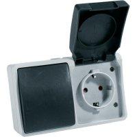 Kombinace vypínače a zásuvky s krytem GAO Standard, 9873, IP54, 16 A, 230 V/AC, šedá