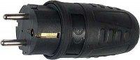 Vidlice 230V,přímý vývod,černá gumová,krytí IP44