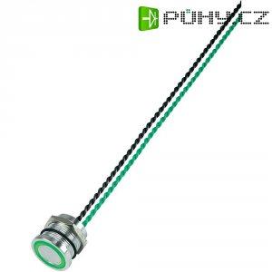 Piezo tlačítko, 24 V DC/AC, 0,2 A, IP 68, PS193P10Y01G24L, zelená LED, ploché