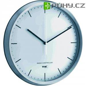 Analogové DCF nástěnné hodiny, Ø 310 x 54 mm, stříbrná