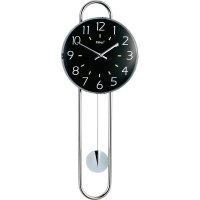 Quarz kyvadlové hodiny - pendlovky, 22,5 x 58 cm, chrom, černá