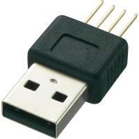 USB konektor s DPS montáží Typ A, zástrčka rovná