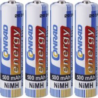 Akumulátor Conrad energy, NiMH, AAA, 500 mAh, 4 ks