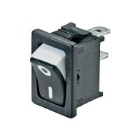 Kolébkový spínač SCI R13-66A3-02 s aretací 250 V/AC, 6 A, 1x vyp/zap, černá, bílá, 1 ks