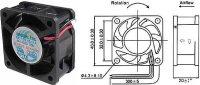 Ventilátor 40x40x20mm 12V/0,1A 6000 ot/min.