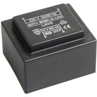 Transformátor do DPS Gerth EI 38/13,6, prim: 230 V, Sek: 2x 7,5 V, 240 mA, 3,6 VA