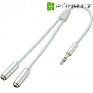Splitter kabel SpeaKa, jack zástr. 3.5 mm/2x jack zás. 3,5 mm, bílý, 0,2 m