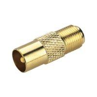 Adaptér BKL Electronic, 0403404, F zásuvka ⇔ anténní zástrčka, 75 Ω, pozlacený