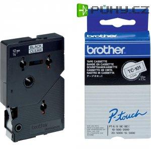 Páska do štítkovače Brother TC-101, 12 mm, TC, 7,7 m, černá/transp.