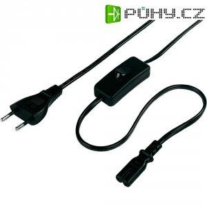 Euro síťový kabel se spínačem Xavax, 00111910, zástrčka euro - zásuvka C7, 2 m, černá
