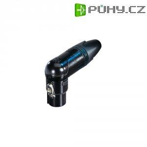 XLR kabelová zásuvka Neutrik NC3FRX-BAG, úhlová, 3pól., 3,5 - 8 mm, černá