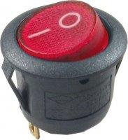 Vypínač kolébkový ON-OFF 1p.250V/6,5A červený s doutnavkou