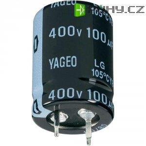 Snap In kondenzátor elektrolytický Yageo LG400M0100BPF-2230, 100 µF, 400 V, 20 %, 30 x 22 mm