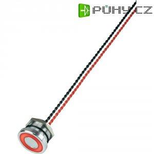 Piezo tlačítko, 24 V DC/AC, 0,2 A, IP 68, PS225P10Y01R24L, červená LED, ploché