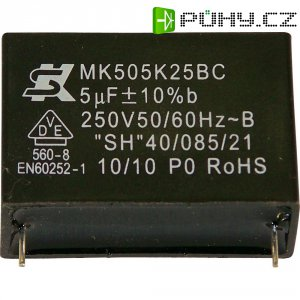 Foliový kondenzátor MKP MK250K105, 1 µF, 250 V, 10 %, 26,5 x 10 x 19 mm