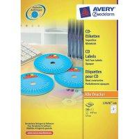Potisknutelné štítky na CD Avery Zweckform, L7676-100, bílá, 200 ks