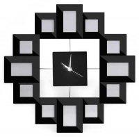 Nástěnné hodiny s rámečky pro fotografie
