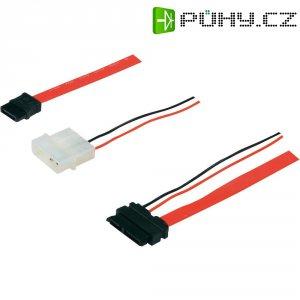 Kabel k/pro pevný disk [1x SATA zásuvka 7-pólová - 1x kombinovaná Slimline SATA zásuvka 7+6pólová] Digitus AK-400114-005-R, červená