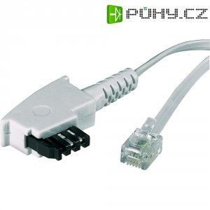Telefonní kabel, TAE-F zástrčka ⇔ RJ11 zástrčka 6p4c, 10 m, bílá