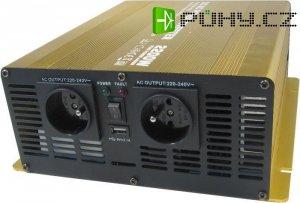 Měnič 12V/230V 2200W, čistá sinusovka, Soluowill NP2200-12