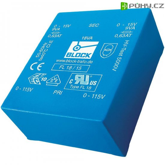 Plochý transformátor do DPS Block FL 18/6, UI 39/10,2, 2x 115 V, 2x 6 V, 2x 1,5 A - Kliknutím na obrázek zavřete