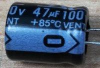 47u/100V 85° 10x13x5mm, elektrolyt.kondenzátor radiální