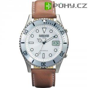 Ručičkové náramkové DCF hodinky Eurochron EFAUS 100, kožený pásek, solární