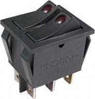 Vypínač kolébkový 2xOFF-ON 250V/15A s doutnavkou B