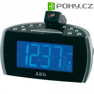 FM radiobudík s projekcí, AEG MRC 4119 P N, AUX, SV, FM, černá