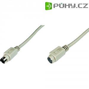 Kabel PS/2, vidlice ⇔ zásuvka, 5 m, šedý