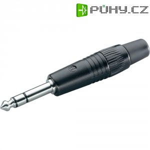 Jack konektor 6,35 mm stereo Neutrik NP3CBAG, zástrčka rovná, 4 - 7 mm, 3pól., černá