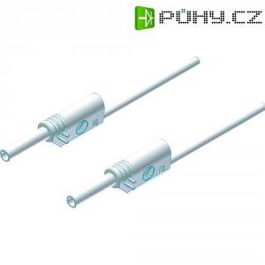 Měřicí kabel banánek 2 mm ⇔ banánek 2 mm SKS Hirschmann MVL S 50/1 Au, 0,5 m, bílá