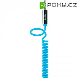 Spirálový přip.kabel Belkin jack zástr. 3.5 mm/jack zástr. 3.5 mm, modrý, 1,8 m